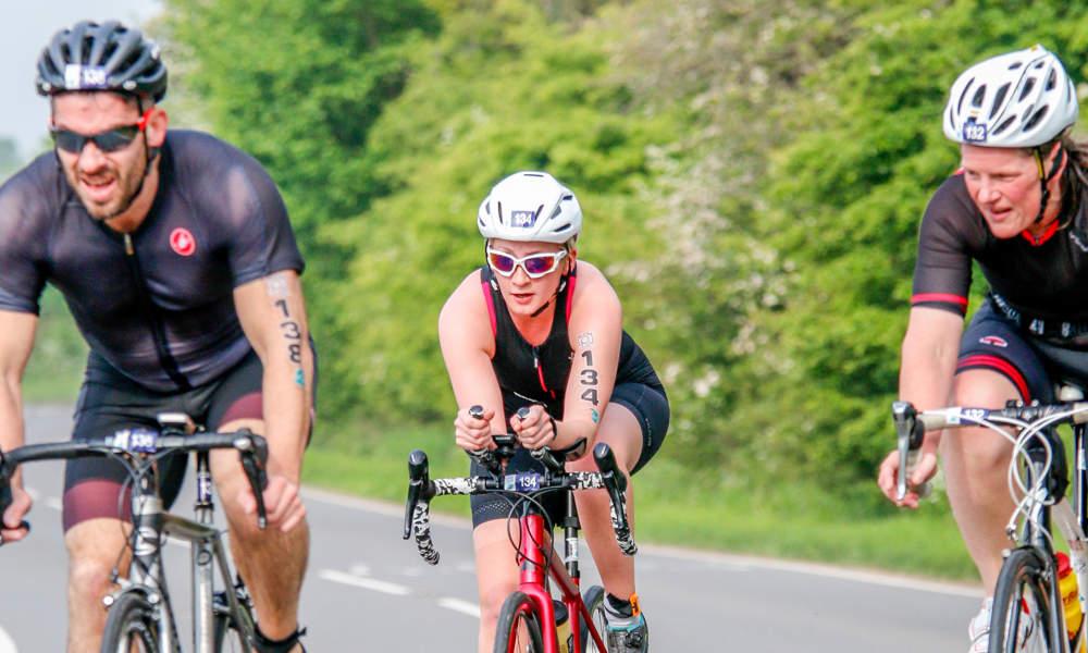 Triathletes Competing